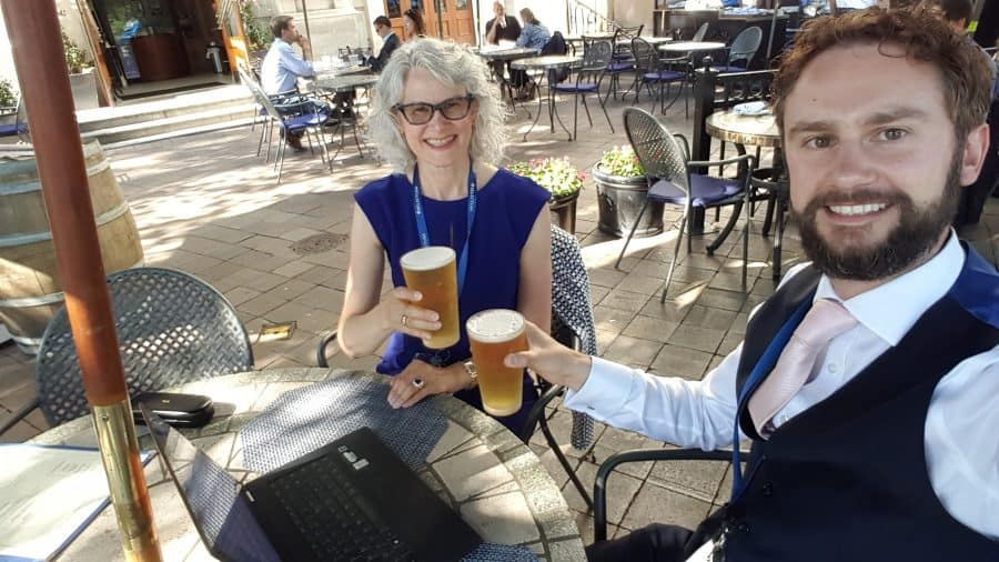 Enjoying a post-conference beer