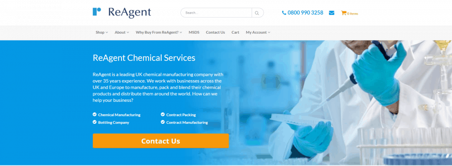 Header Section on the Chemicals.co.uk Website | ReAgent Chemicals