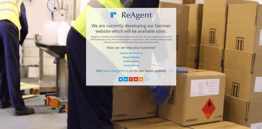 Current Holding Page used on ReAgent.de   ReAgent Chemicals