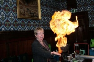 Lorely Burt MP being fearless with fire