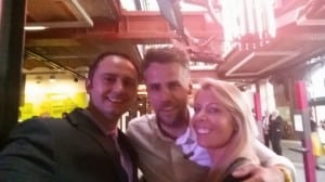 "BBC presenter Richard Bacon joining in a ""selfie"""