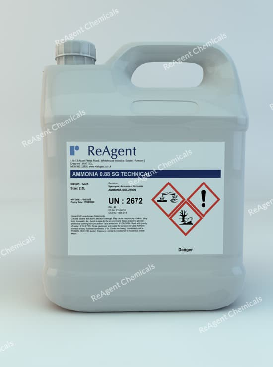 An image showing Ammonium Hydroxide Tech 0.88 SG in a 2.5litre container