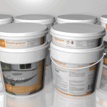 3D renders of white buckets of Elastopave by BASF