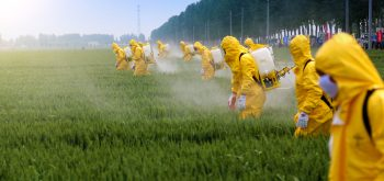 Farmers spraying pesticides on a field
