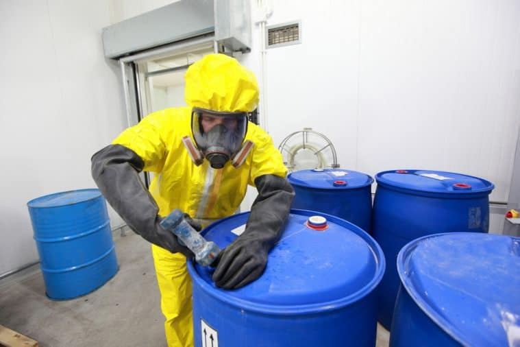 It's important to wear the right protective personal equipment while handling hazardous chemicals