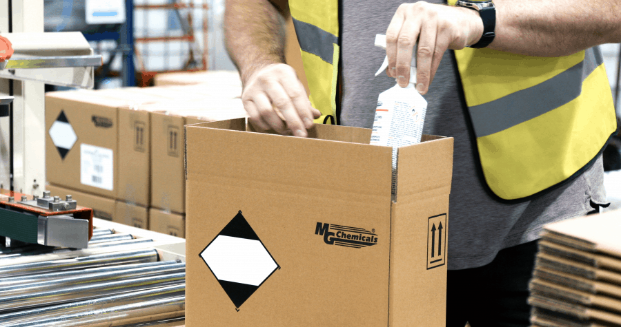 ReAgent packs MG Chemicals products ready for shipping