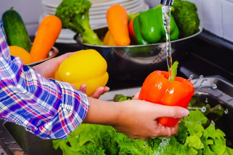 Wash fresh fruit and vegetables to get rid of pesticides from food