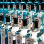 Rows of Bombay gin on a shelf